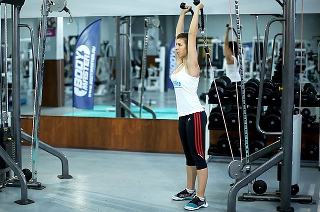 Photo of Cable Rope Overhead Triceps Extension  exercise