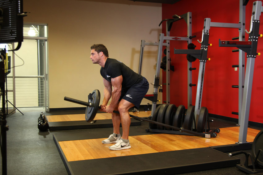 Exercise Bent Over Two-Arm Long Bar Row