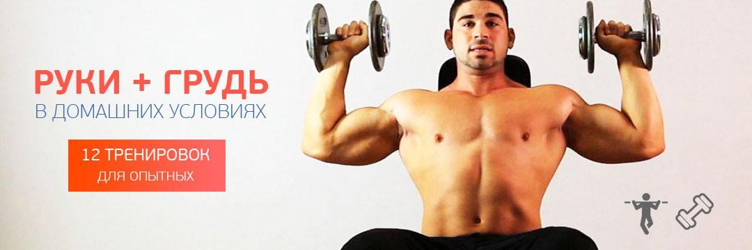Набор мышечной массы » Домашняя тренировка на руки и грудь с гантелями и турником для опытных